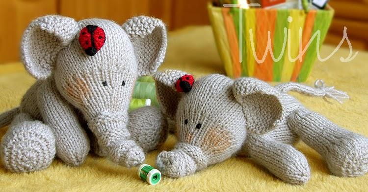 Knitting Terminology M1 : Twins knitting pattern minishop knitted elephant and