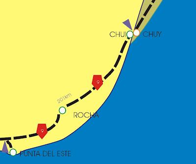 mapa punta del este a chui