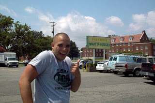 Dylan Polk in front of Feltner's Whatta-Burger