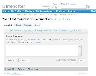 Friendster sudah 2000 komentator