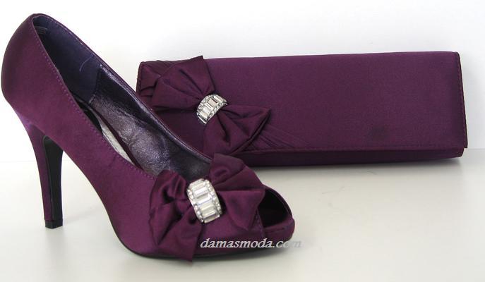 bcfc7bd0a3e Damas Moda  set zapatos y bolso de fiesta en raso Damas Moda.