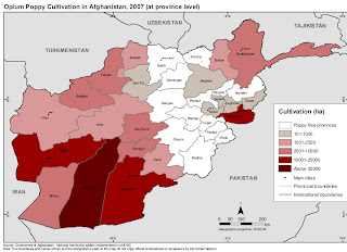 Opium production per province in Afghanistan.