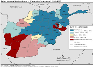 Changes in opium production in Afghan provinces.