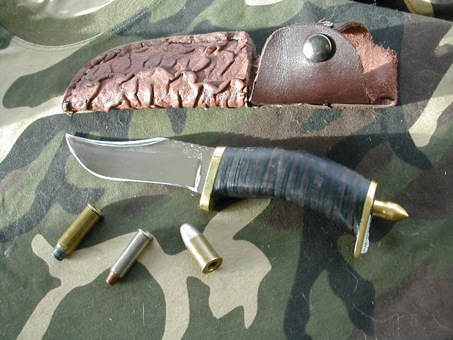 Leather handled Bowie style Knife in D_2 steel