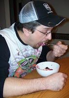 Hubby enjoying Blackberry Crumble
