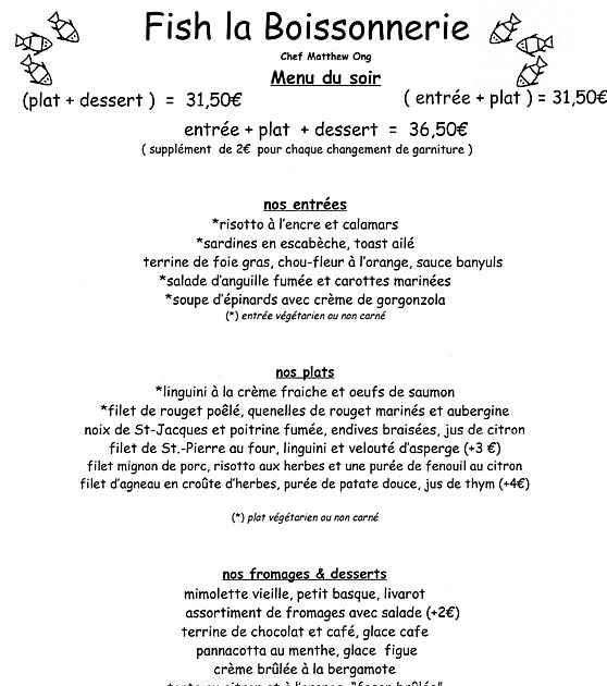 Fish La Boissonnerie Restaurant Paris