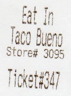 Taco Bueno Receipt