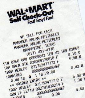 wal-mart receipt
