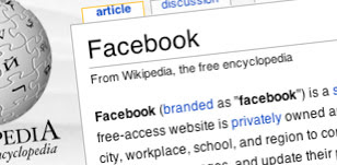 facebook on wikipedia