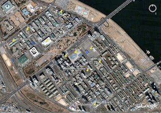 Google Earth Image of Yeouido with buildings discussed marked on