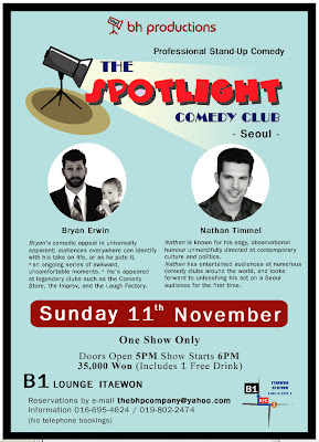 Flyer for BH Productions Comedy night at B1 Lounge Itaewon, Seoul starring Bryan Erwin and Nathan Timmel