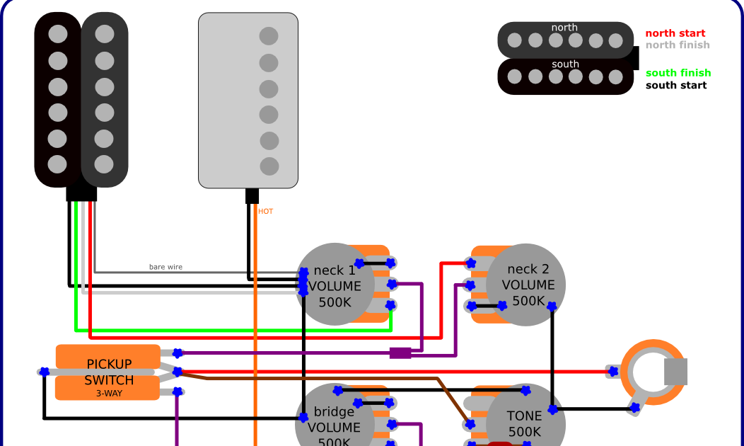 Humbucker Wiring Diagram In Addition 2 Volume 1 T One Wiring Diagram