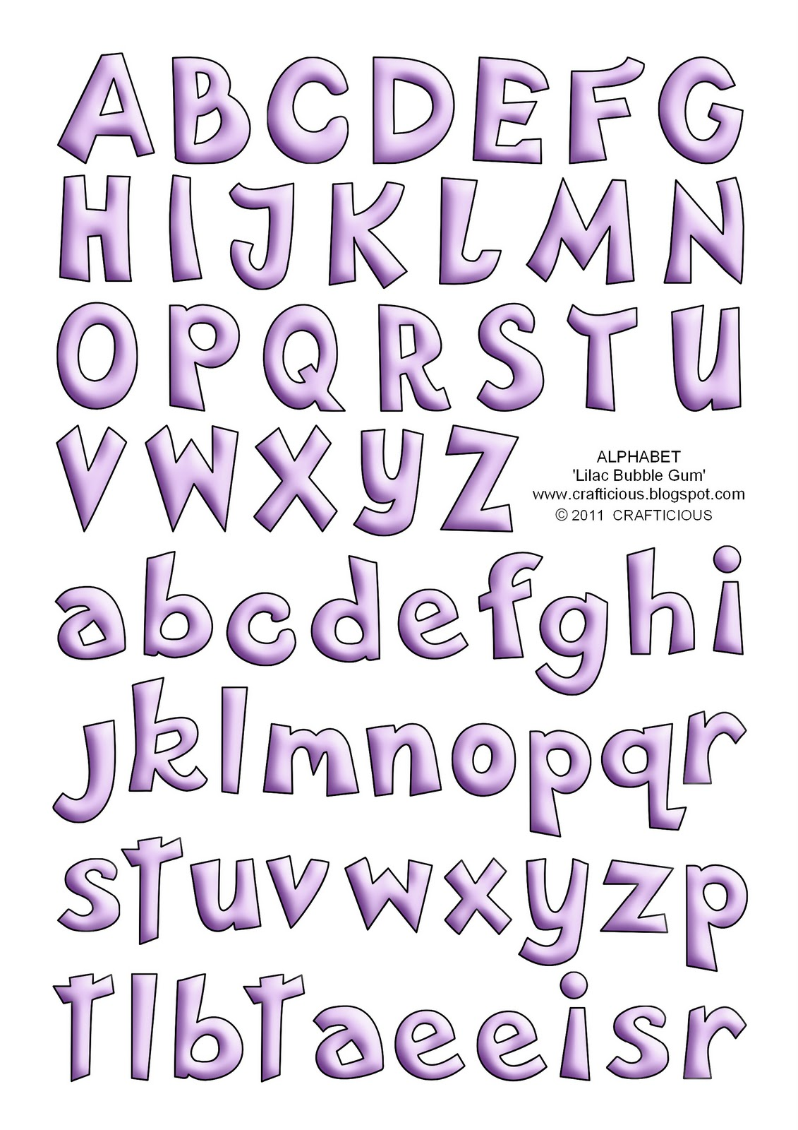 Bubbly handwriting alphabet sheet