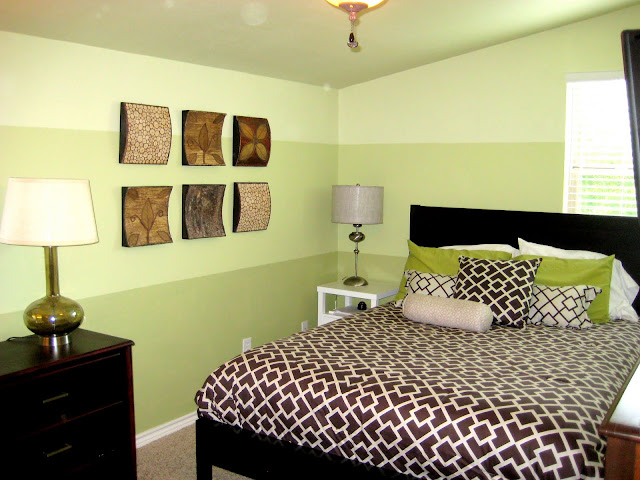 horizontal striped bedroom