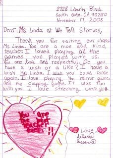 Letter from a Student to Teaching Artist, Linda Miller