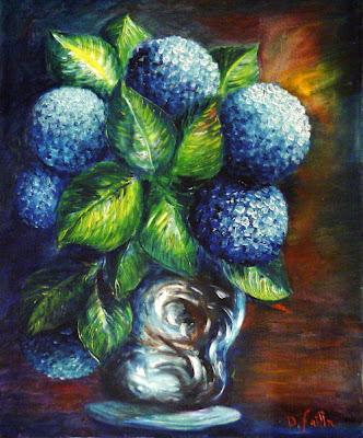 La pittura di domenico failla ortensie in vaso olio su for Ortensie in vaso