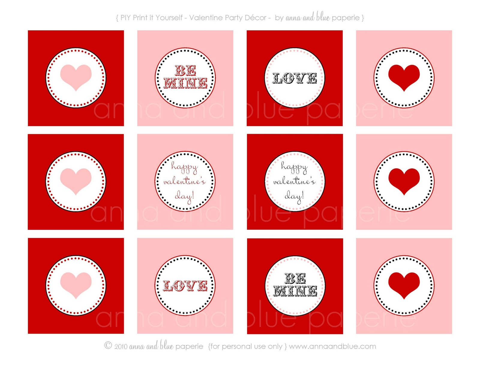 anna and blue paperie: {Free Printable} I Heart You ... Free Printable Valentine's Day Decorations