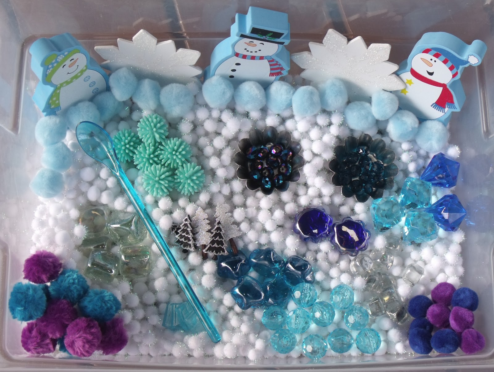 Nurturing Naters With Learning Activities At Home Winter Sensory Tub January 01 Snowman