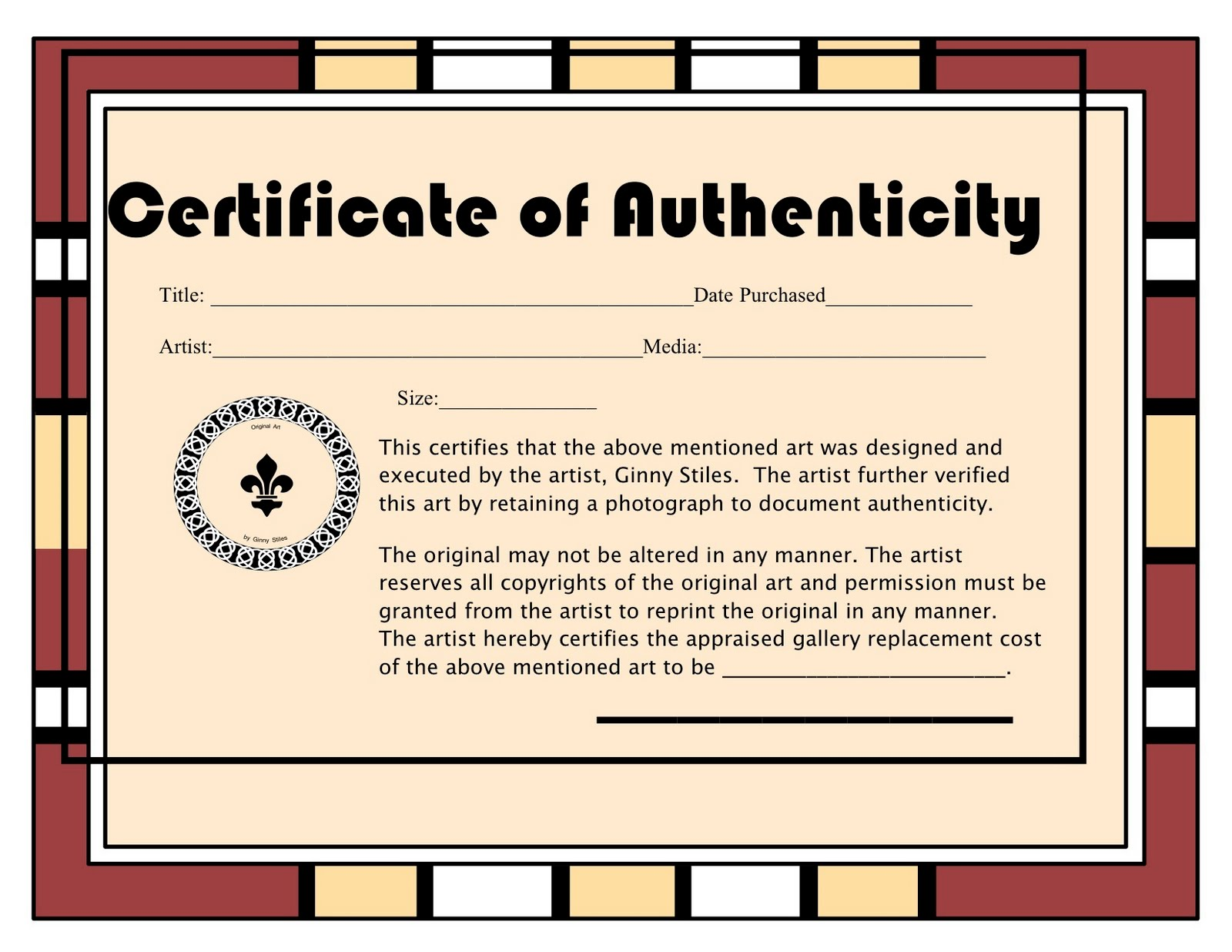 An artist labyrinth ginny stiles czt may 2010 for Certificate of authenticity autograph template
