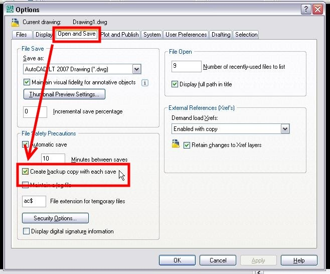 how to open a autocad backup file