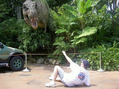Barry again about the be consumed by a T. Rex at Universal's Islands of Adventure...will he ever learn?