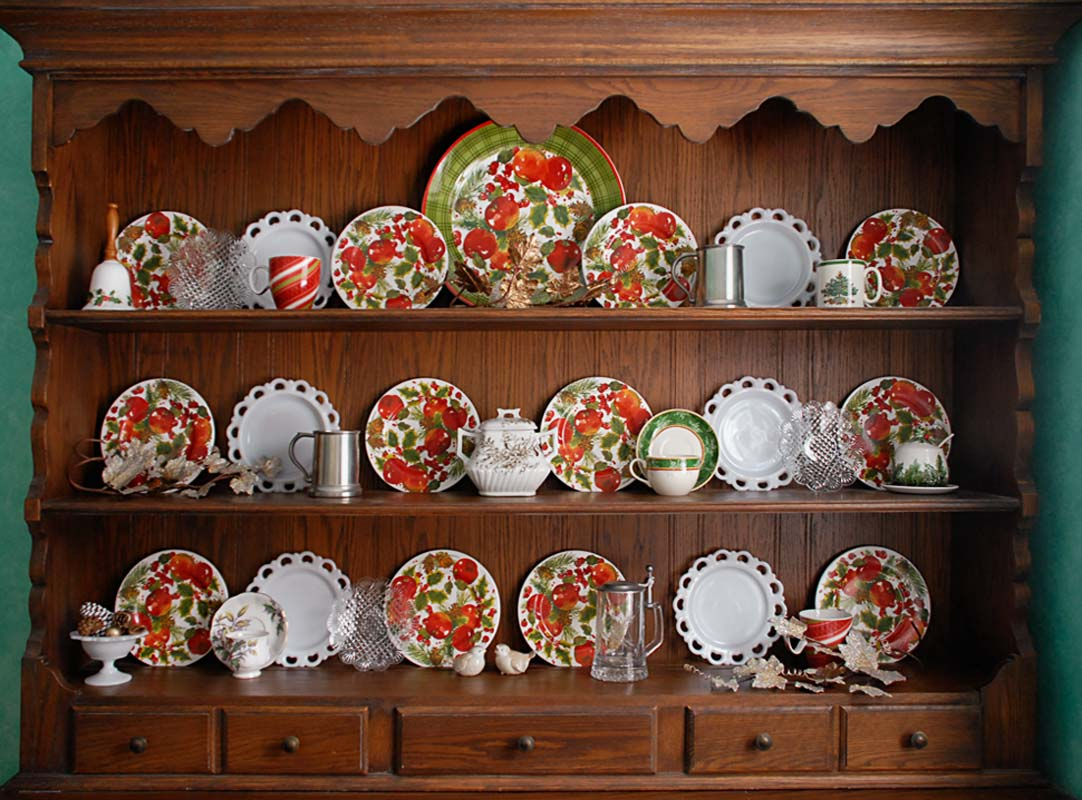 Hallmark Mitford Christmas China in Hutch