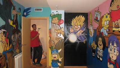 Berok graffiti mural profesional en barcelona graffitis for Cuartos decorados de dragon ball z