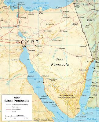 sinai halbinsel karte Meditation und Wandern in der Wüste Sinai: Karte der Sinai Halbinsel