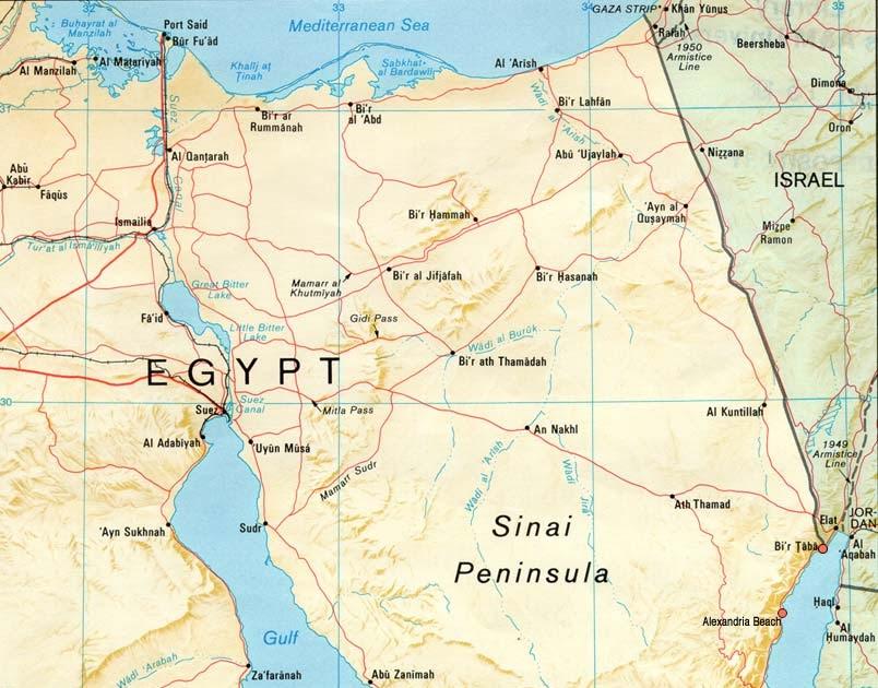 sinai karte Meditation und Wandern in der Wüste Sinai: Karte der Sinai Halbinsel