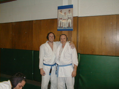 Me and my dad, November of 1999 at the Gracie Academy in Torrance. Note his two stripes and my none!