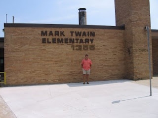 John in front of Mark Twain Elementary School in Iowa City, Iowa