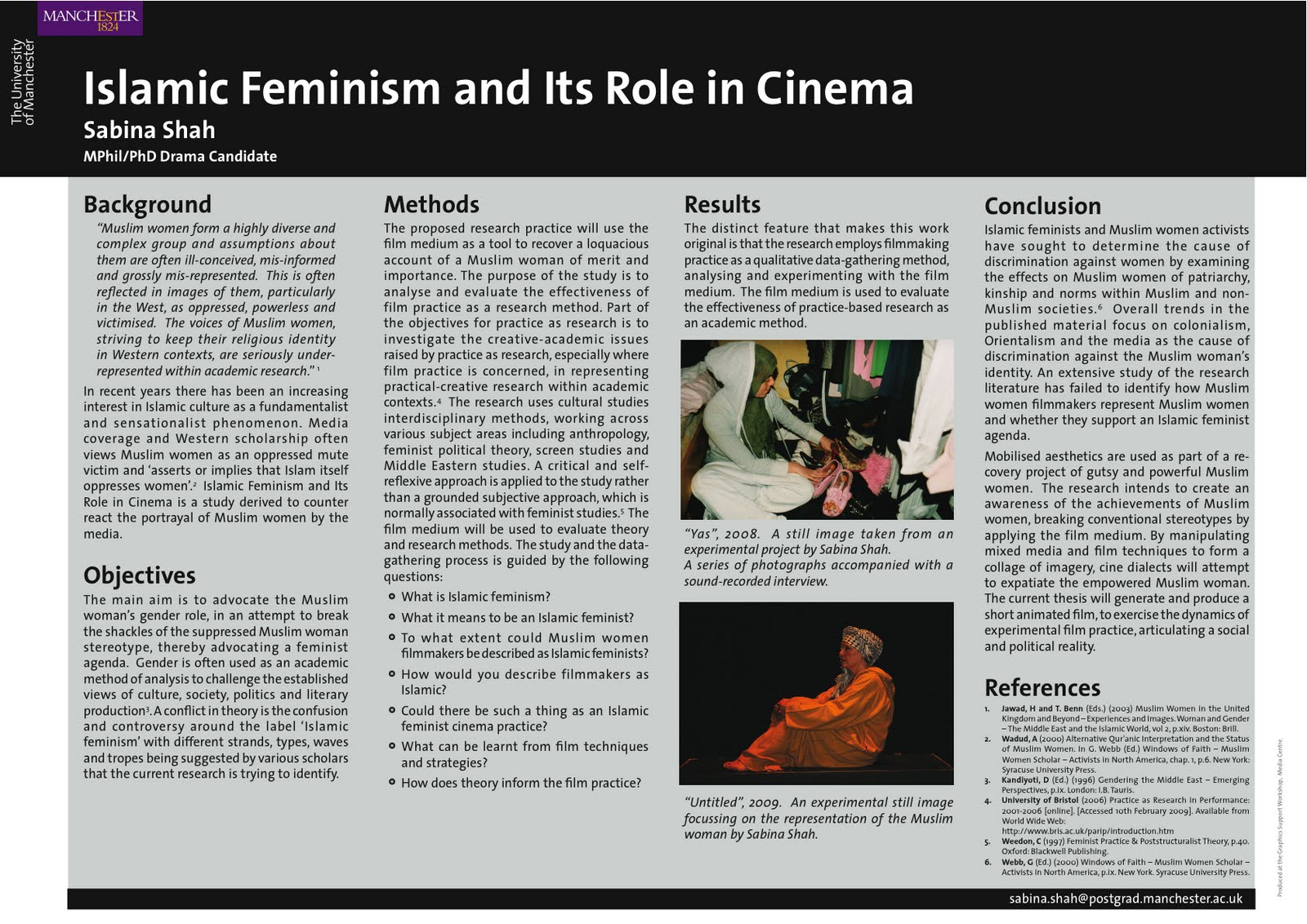 Sabina Shah - Islamic Feminism and Its Role in Cinema: Academic Poster