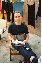 Hugues with Gabriel's cat, Roma, Sept. 2001