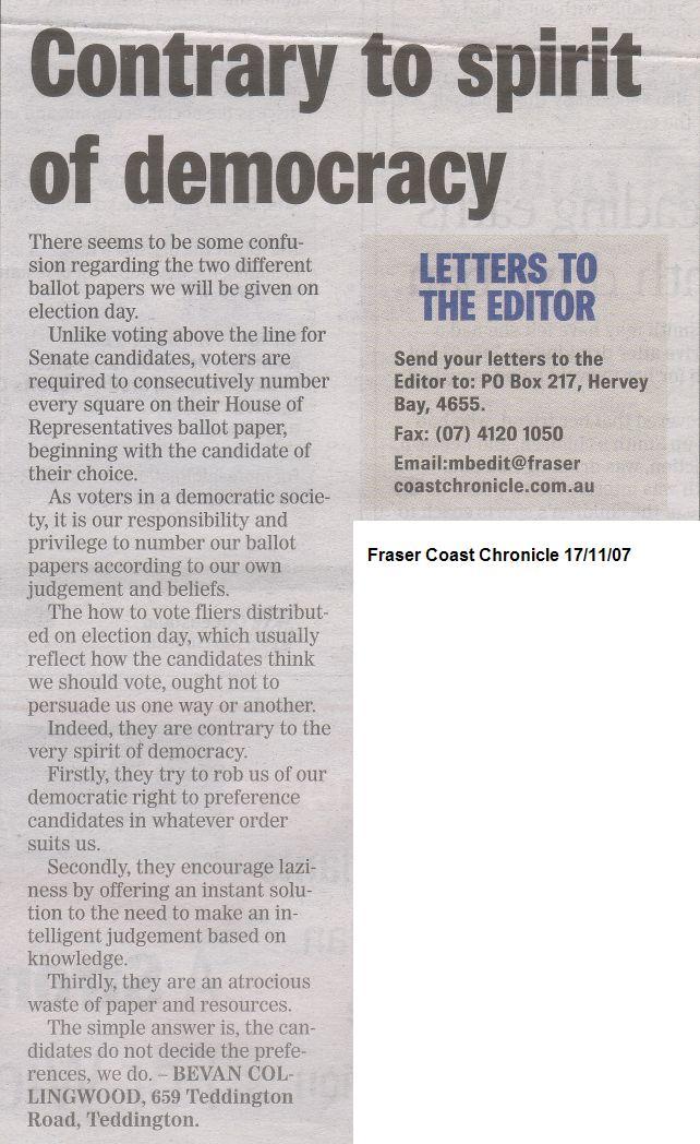 Latest Published Letter...