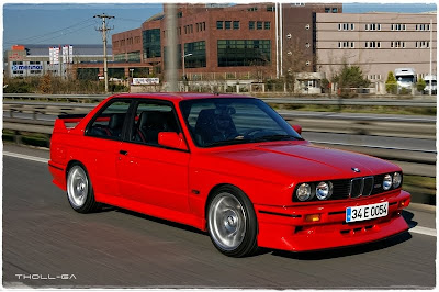 BMW E30 CARS: Classic red BMW E30 M3 on track day