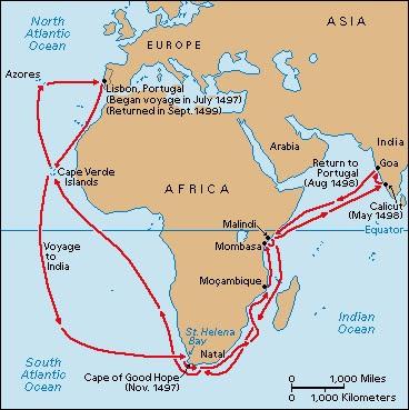 Trajeto Da Viagem De Vasco Da Gama      Ndia Em 1497 98
