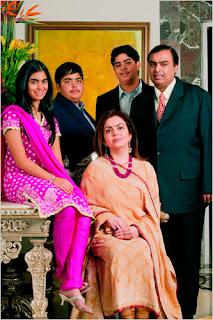 Mukesh Ambani e famiglia