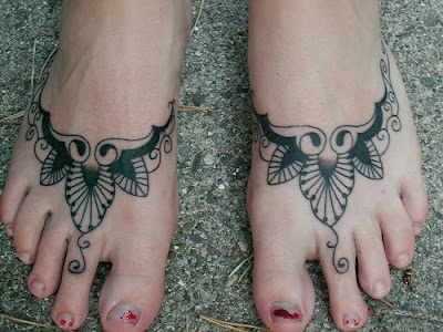 Sun and Moon Foot Tattoo