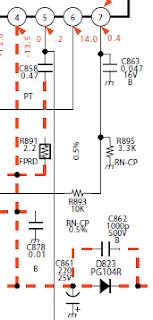 Voltaje negativo en diagrama electrónico.