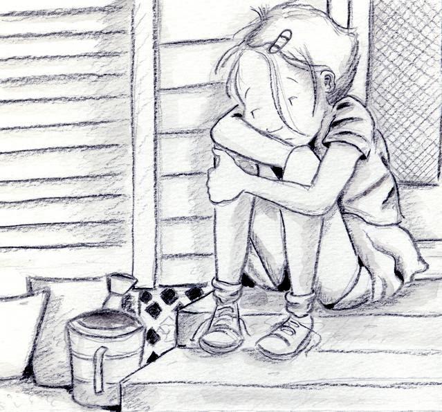 Michelle Henninger: Sad little girl - ink wash