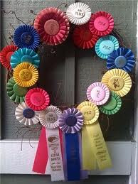 Blue Cardinal Decorating With Horse Show Ribbons