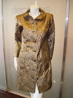 97646905584 Yves Saint Laurent Gold Silk/Wool Brocade Coat with Palm Pattern, Winter  1984. SOLD
