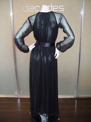 Long Sleeve Chiffon Dress on Halston 70s Black Chiffon Signature Wrap Waist Gown With Satin Belt