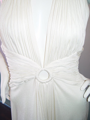 Loris Azzaro classic white jersey pleated halter ring gown c 1970s.  Contemporary 4 to 6 (it s white jersey and has been cleaned by the best  folk in town b2ba4f9da