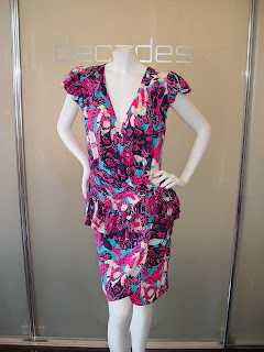 2e792d4956 Yves Saint Laurent Rive Gauche ruffle sleeve with low plunge and ruffle  drop waist floral silk dress c 80s. SOLD