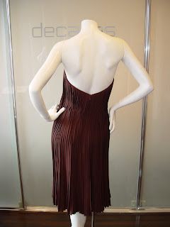 0673ea126ad James Galanos mid to late 80s pleated chiffon chocolate strapless cocktail  dress. Approx size 4 SOLD