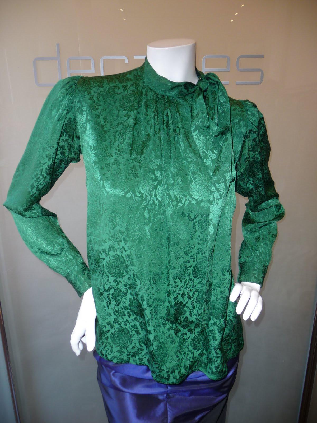 78604d2c12d7 Yves Saint Laurent Rive Gauche emerald silk jacquard side button bow  blouse