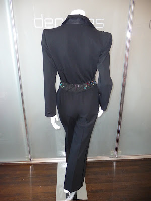 a16061b79a4 Yves Saint Laurent Rive Gauche black le smoking jumpsuit, c 1980s. Modern  size 6 SOLD The YSL macrame and multi color stone belt is sold separately.  SOLD
