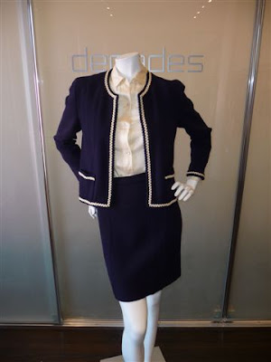 Decades Inc Navy With Cream Piping