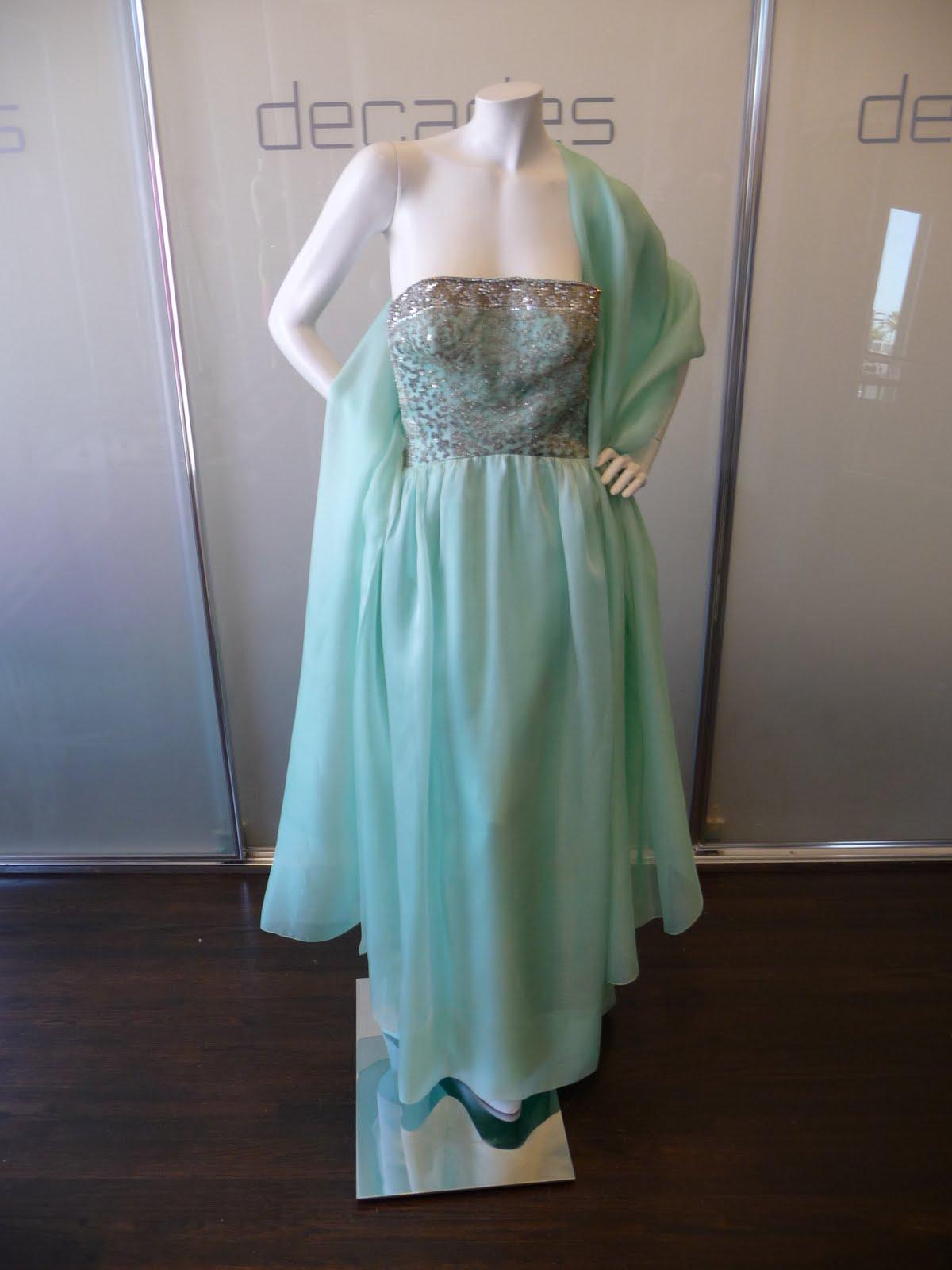 b14ecd640dc3 Cristobal Balenciaga Haute Couture aqua gazar evening gown and stole